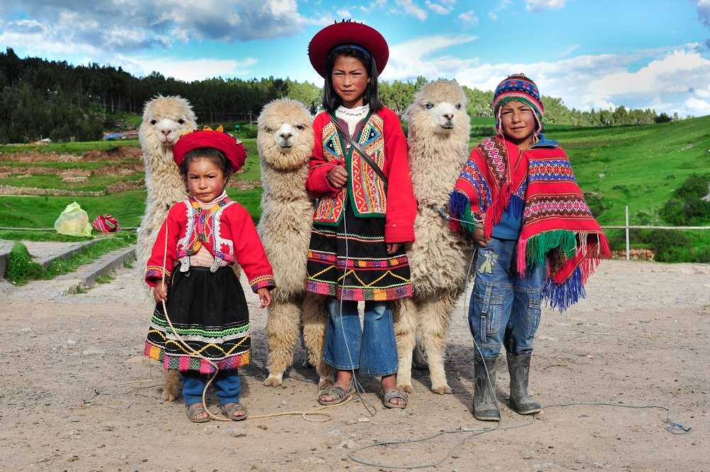 Peruvian Children & Alpacas