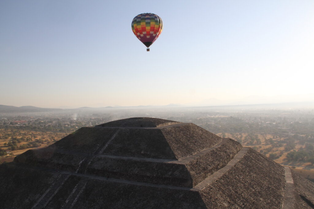Hot Air Balloon over Sun Pyramid, Teotihuacan, Mexico City