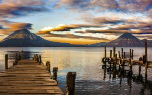 Lake Atitlan, Guatemala - Jetty with Volcano Views