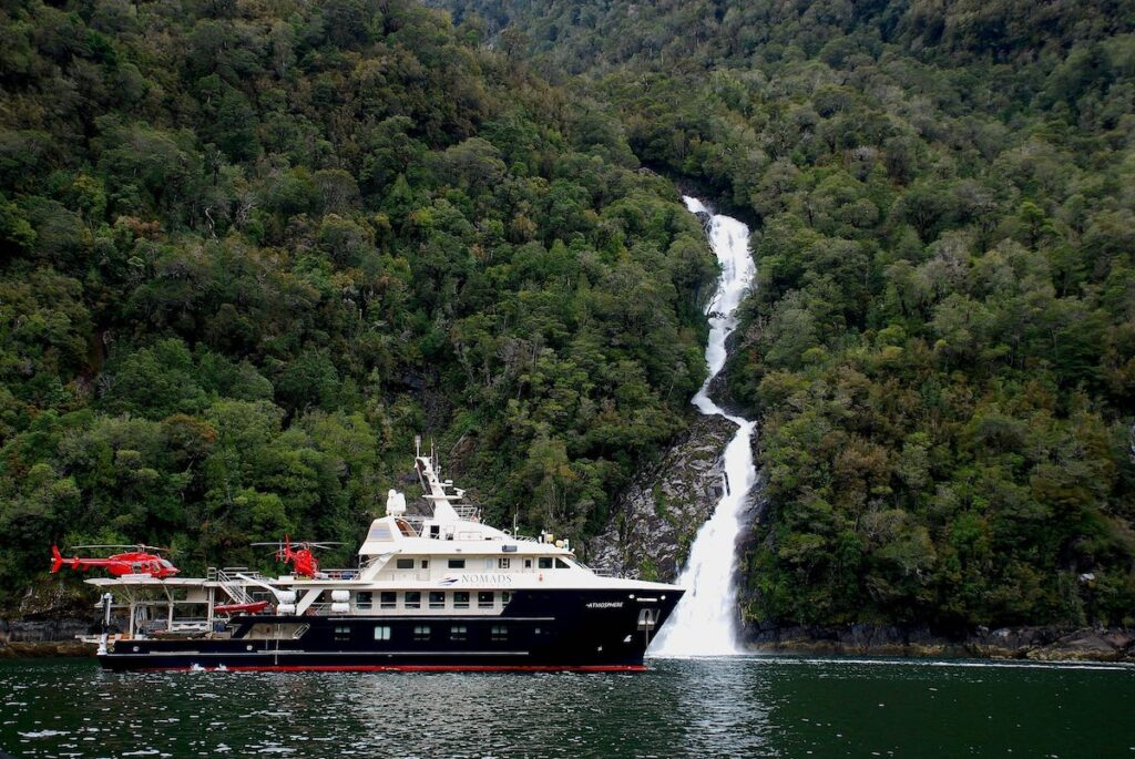 Cruising the Chilean Fjords - Atmosphere Ship - Waterfall View